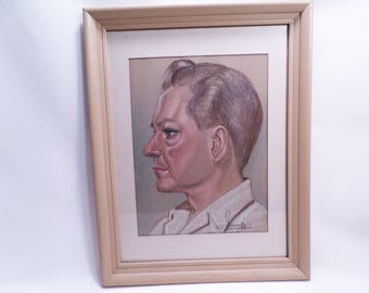 Father Man Pastel Painting?Drawing Vintage 1967