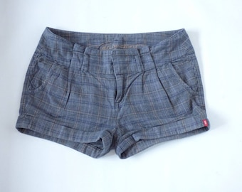 Women's Vintage EDC ESPRIT Zip Fly Riding Grey Check Cotton Shorts Size UK16 / W36 L12