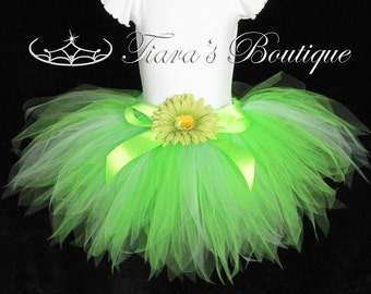 Design your own Tinker Fairy tutu - custom sewn 11 inch petite pixie tutu - FREE coordinating bow and flower clip