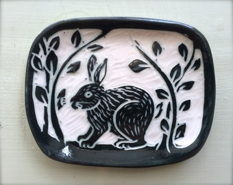 Bunny Mini Dish, Sgriffito Carved Porcelain