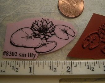 small water lily rubber stamp un-mounted scrapbooking rubber stamping