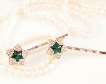 Beach Wedding Hair Accessories Starfish Hair Pins Star Hair Pin Crystal Headpins Bridal Head Piece Emerald Hair Pins Green Rhinestone Clips