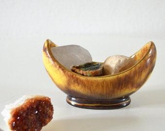 Vintage Bay Ceramic Moon Crescent Cup vase peel Brown yellow gold cresent moon dish boho Ceramic