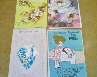 Lot of 4 vintage greeting cards with envelopes, Unused old stock. Mother's Day, Hubby on Anniversary. greeting card lot.