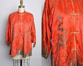 1920s 1930s Chinese Jacket Blouse 30s 20s Embroidered Dragon Embroidery