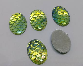 Green Dragon Cameos 18mmx13mm Mermaid Cameos Fish Cameos Dragon Cabochon Mermaid Cabochon Iridescent Dragon Scale Mermaid Scale