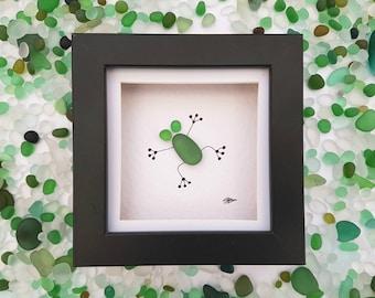 Sea glass art frog pebble art sea glass frog nursery decor unique gift for mom birthday gift for her anniversary gift for mum framed art