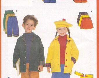 Butterick 5714 Boys Girls Coat Skirt Pants Hat Scarf Pattern Sizes 6-7-8