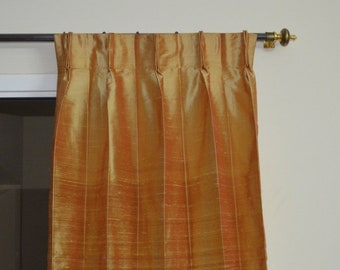 Gold with brown coloured silk drapes in rich raw silk / dupioni silk