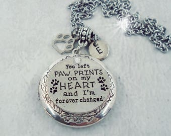 You Left Paw Prints on My Heart and I'm Forever Changed Pet Memorial Locket, Pet Loss, Cat Memorial, Dog Memorial, Keychain Available
