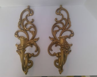 Vintage Pair of Wall Sconces, Goldtone Wall Decor, Syroco, Lightweight Candleabras, Rose Candlesticks