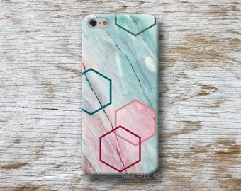 Hexagons Blue Marble Phone Case for iPhone 4 4s 5 5s SE 5C 6 6S 7 8 PLUS X iPod Touch 5 6 Oneplus 2 3 5 1+2 1+3 1+5