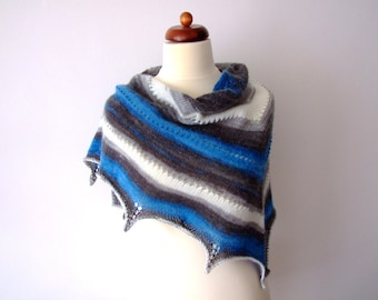 blue white grey scarf, knit triangle scarf