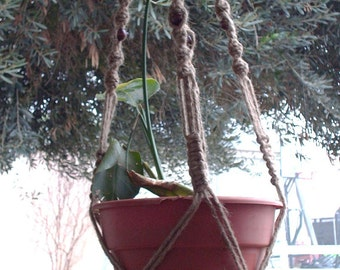 Macrame Plant Hanger Natural Jute Vintage Style 48 inch BEADS