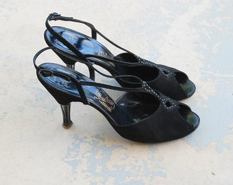 vintage 50s High Heels - Strappy Black Suede Sandals 1950s Studded Cage Heel Cangemi Shoes Sz 8.5 39
