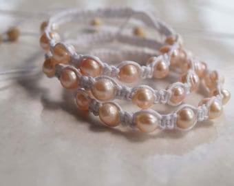 Pink Pearl Bracelet, Pearl Shamballa Bracelet, Pearl Wedding Bracelet, Pearl Anklet, Pearl Friendship Band
