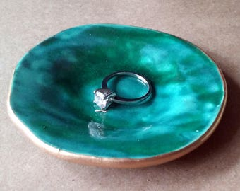 Ceramic  Malachite green  Ring Dish edged in gold