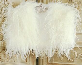 Luxury ostrich feather bolero/feather shrug/wedding bolero/feather jacket/bridal bolero/mother of the bride bolero/wedding wrap/bolero