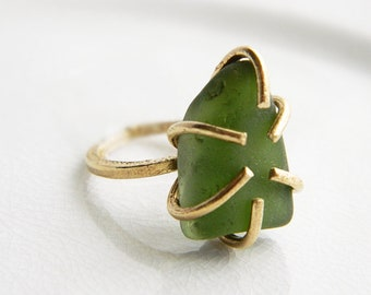 Forest Green Sea Glass Ring - 6 Prong Brass Setting - Chesapeake Bay Genuine Seaglass