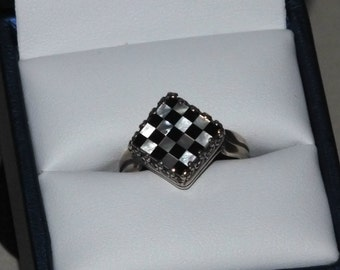 Unique Checkerboard Mosaic Pattern Mother-of-Pearl Adjustable Ring. I'll size for you prior to shipment or do-it-yourself, I'll tell you how