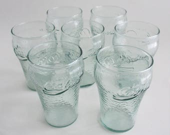 Vintage Coke Glasses Tumblers Set of 7 Small Pebbled Green Glass 6 Ounce