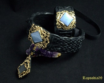 Statement jewelry set Collar necklace Gothic jewelry set Black gold jewelry Baroque jewelry Polymer clay jewelry