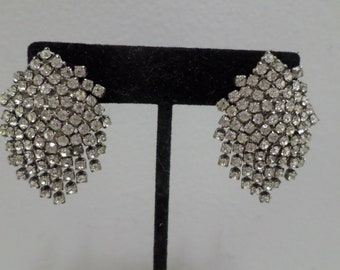 Vintage Clip on Earrings silver tone metal with clear rhinestones costume jewelry