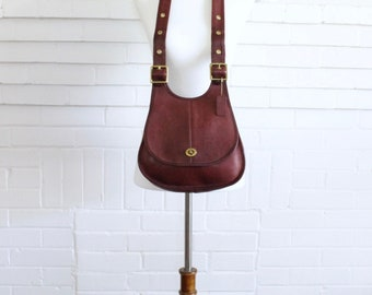 Vintage Coach Crescent Bag // Hippie Saddle Bag NYC Cashin Burgundy Leather Purse