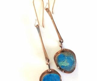 Copper earrings, copper jewelry, rainbow Calsilica earrings, dangle earrings, blue earring, long dangle earrrings, made in Santa Fe
