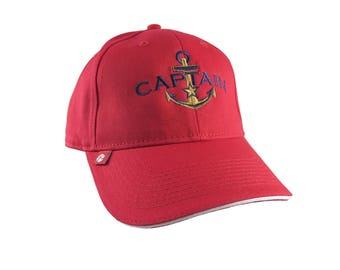 Personalized Captain Star Anchor Embroidery on an Adjustable Red Structured Fashion Baseball Cap with Options to Personalize Side Back