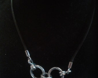 Black Leather and Heavy Sterling Silver Link Grunge Chocker Necklace