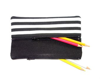 Black and White Striped Pencil Case/ Makeup Bag 19.cm x 11.3cm With Two Zippers