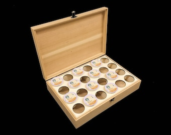 K-Cup Storage Box with Hinges & Latch-13 x 9 x 3-unfinished wood box-Keurig Pod wood box-24 K-Cup compartments