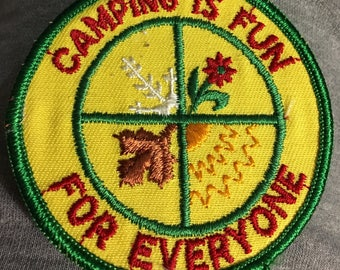 CAMPING is Fun for EVERYONE VINTAGE Mint Patch L@@K Detailed Stitching