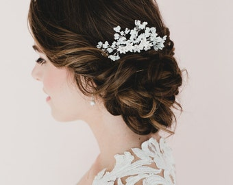 Baby Breath and White Star Flower Blossom Bridal Headpieces. White Flower Hair Comb. Tania Bridal Hair Comb