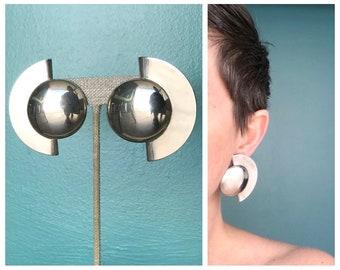 Oversized Sculptural Earrings, Silver Earrings 80s Earrings Geometric Earrings Modern Earrings Extra Large Earrings Metal Earrings