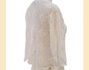 Vintage white crochet top, 1990s crochet lace top, cropped top with round neck and half sleeves, UK size 12 to 14, summer top