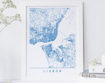 Lisbon map Etsy