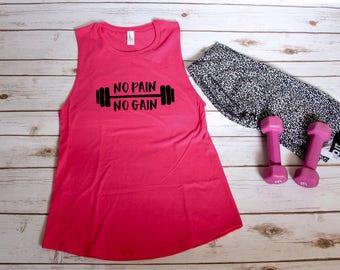 No Pain No Gain Workout Muscle Tank | S-2XL