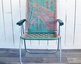 Vintage Macramé Lawn Chair with Teal Green & Beige Horse Design