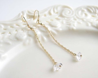April Birthday ~ Herkimer Diamond Long Earrings ~ April Birthstone ~ Gift for Her ~ 14K Gold FIlled ~ Simple Modern Everyday Jewelry