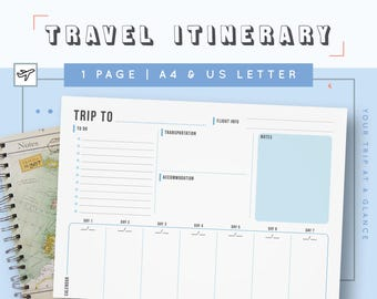 Travel Itinerary Template | Family Travel Planner | Printable Itinerary |  Vacation Itinerary For Business Trips