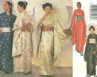 Butterick 6698 GEISHA KIMONO ROBE Obi and Sash Unisex Adult Sizes