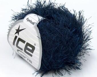 Navy Blue Eyelash Yarn Ice Fun Fur 22781