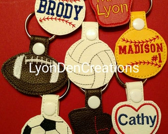 Baseball, Softball, Football, Volleyball, Soccer, Teacher, Boots, Nurse, Doctor, Flip Flops, Monkey, Cancer Awareness Keychain/Bag ID