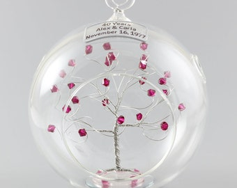 40th Anniversary Gift Personalized Ornament Ruby Anniversary Swarovski Crystal Elements in Silver Rush Available