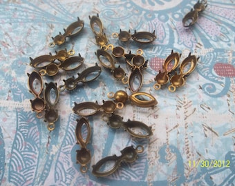 6 Vintage Brass Double Setting Drop    ....   B - 2