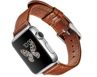 Exclusive Leather Watch Band Strap for Apple Watch 42mm, Handmade