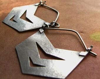 Argentium Chevron Earrings, Sterling Silver Hoop Earring, Large Silver Earrings, Geometric Earrings, Southwest Earrings, Statement Earrings