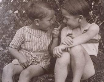 vintage photo Little French Boys Share a Secret Glass Negative